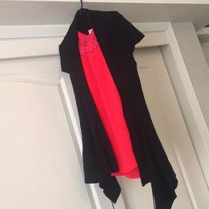 Black cardigan. Long. Ribbed.